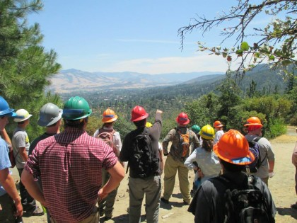 Through a competitive application and interview process, 20 juniors and seniors from Medford, Phoenix, and Ashland high schools were selected to participate in the Ashland Watershed Youth Training and Employment Program. During the first day of the program, Lomakatsi Executive Director Marko Bey led participants on an educational hike to an overlook of Ashland and the Watershed.