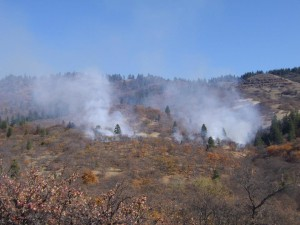 Overview of 30 acre burn unit. Colestin Valley, Oregon, 11-1-13.