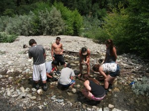 Learning about macro-invertebrates and indicator species, Klamath Basin Tribal Youth Employment and Education Initiative, July, 2012