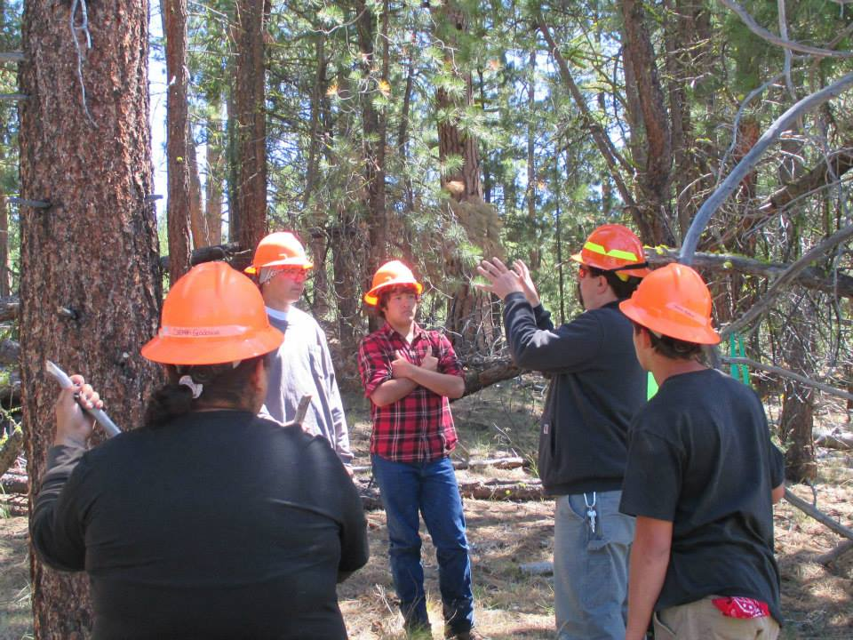 Lomakatsi Executive Director Marko Bey discussed how ground crews implement prescriptions to achieve landscape scale forest restoration projects with Klamath Tribal Youth Program participants.