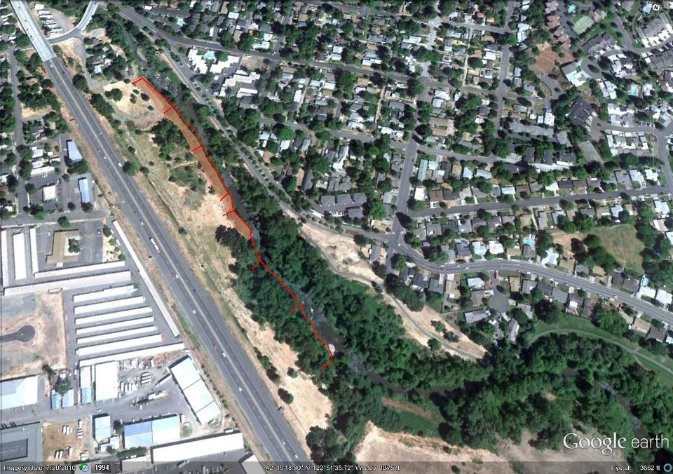 Medford Bear Creek Riparian Restoration Project - Spencer Street, Medford, OR . . Interstate - 5 on left. Restoration site on right