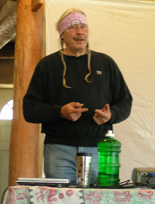 "Dennis Martinez (Oodham/Chicano) founder of the Indigenous People's Restoration Network, showing how things work in ecosystems --at a workshop on ""Creating A Sustainable Ecological Culture"", May 4-6, 2007, White Oak Farm & Education Center, Williams, Oregon."