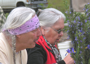 Dennis Martinez (Oodham/Chicano) founder of the Indigenous People's Restoration Network, and Grandmother Agnes Baker Pilgrim (Takelma), Chair of the International Council of 13 Indigenous Grandmothers, at the workshop, May 4-6, 2007, at White Oak Farm & Education Center, Williams, Oregon.