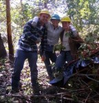Students and brush pile, rt col. 314x327, 7-18