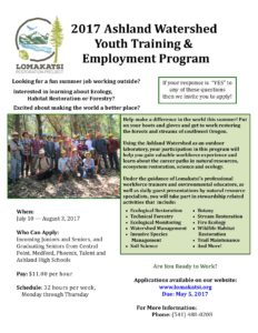 2017 Ashland Watershed Youth Training and Employment Program Flier - click on image to view
