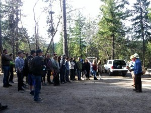 Students listen as forestry technician explain forest restoration principles and basic navigation skills